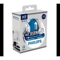 Комплект 2 халогенни крушки Philips H7 White Vision, 12V, 55W